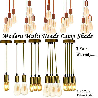 Vintage Ceiling Multi Way Pendant Braided PVC Cable Lamp Holder Fitting Light • 13.36£