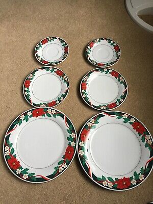 $3 • Buy TIENSHAN Fine China DECK THE HALLS Christmas Dishes Poinsettia -6 Pieces