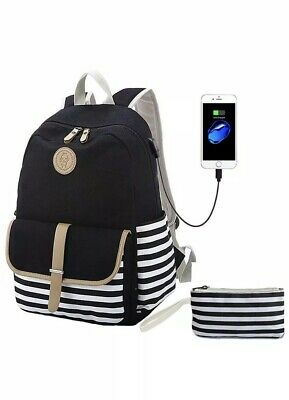 $29.99 • Buy Teens School Backpack Canvas Girls Bookbags With USB Charging Port Fit For 14