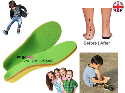 Children Flat Feet Orthotic Arch Heel Support Leather Insoles Shoes Inserts Pads • 4.95£