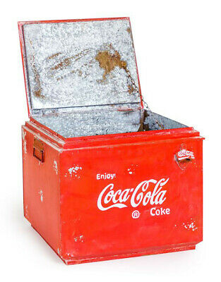 Vintage Upcycled Large Metal Coca Cola Coke Storage Box Crate With Bottle Opener • 129.95£