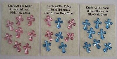 £2.50 • Buy 8 Holy Cross Embellishments Blue/Pink For Card Making And Scrapbooking/Rhineston