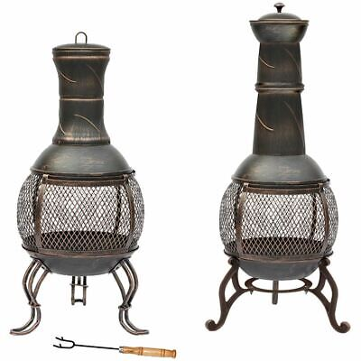 Steel Chiminea Fire Pit Outdoor Garden Patio Heater BBQ Charcoal Black Gold • 49.90£