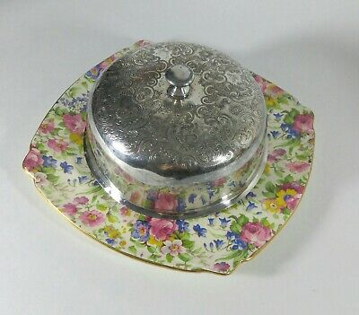 $ CDN125 • Buy Royal Winton Chintz Summertime Pattern Round Covered Butter / Cheese Metal Lid