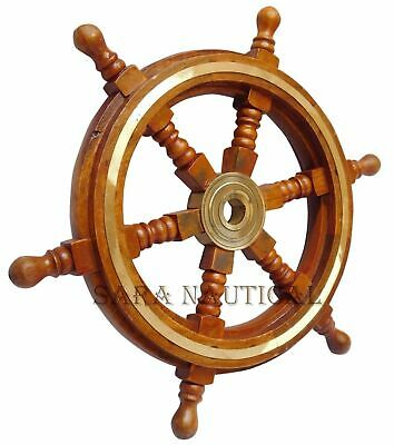 £32 • Buy Wooden Ship Wheel 18  Pirate Decor, Ships Wheel For Home, Boats, And Walls