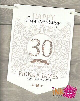Personalised 30th Wedding Anniversary Pearl Party Decoration Banner Bunting • 4.97£