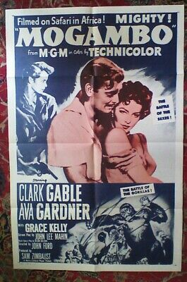 ORIGINAL Mogambo-Gable-Ava Gardner-Grace Kelly 27x41 One Sheet Movie Poster-VG • 25.32£