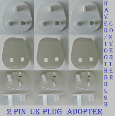 Electrical Mains 2 Pin Shaver/Toothbrush Plug Converter To UK 3 Pin Adaptor Plug • 1.89£