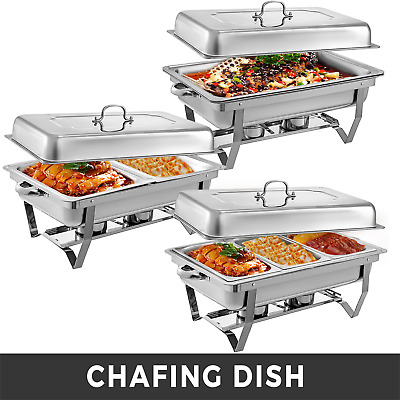 £79.96 • Buy Stainless Steel Chafing Dishes 9L With 1/2 1/3 Inserts Chafer Buffet Warm Tray