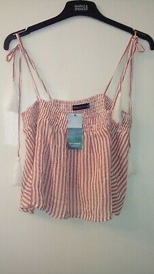 New Marks & Spencer Red Mix Beach Wear Tie String Cami Top With Tassles Size 12 • 9.95£
