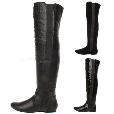 Womens Ladies High Over The Knee Wide Stretch Pull On Flat Low Heel Boots Size • 13.99£