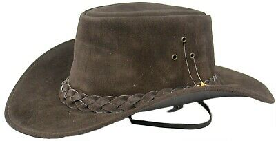 £15.96 • Buy Australian Western Style Real Leather Bush Cowboy Hat Removable Chin Strap UK