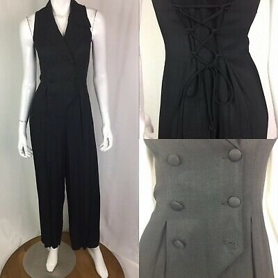 $55 • Buy Vintage Knapp Studio Womens Black Double Breasted Tuxedo 90s Lace Up Jumpsuit XS