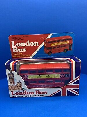 """$ CDN33.08 • Buy Red London Bus """"Double Decker"""" Diecast Model Bus /Moving Wheel Action"""