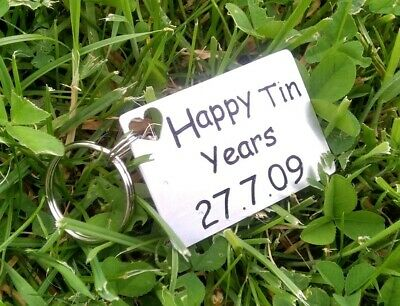 Happy TIN Years 10th Anniversary Gifts Ten Years Personalised Metal Keyring • 10.99£