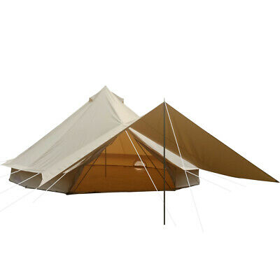 Glamping 4-Season Canvas Bell Tent Waterproof Family Camping Tent Yurt Awning 5M • 564.99£