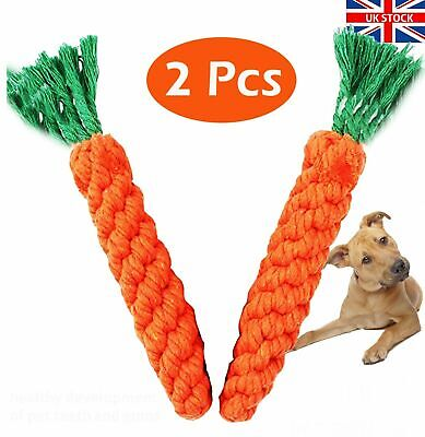 2 X Pet Dog Chew Toys Braided Rope Carrot Hamster Puppy Teeth Dental Cleaning  • 2.99£