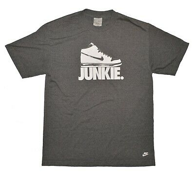 $ CDN49.56 • Buy Vintage NIKE Dunk Junkie T-Shirt Size Large Gray Tag Air Flight 50/50 Swoosh