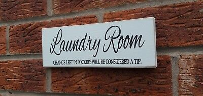 Laundry Room Fun Plaque Sign Shabby Vintage Chic Wooden Plaque • 4.99£