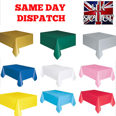 Rectangle Disposable Plastic Table Covers Wipe Clean Party Table Cloth Covers UK • 1.99£