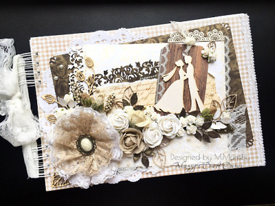 Rustic Vintage Handmade Wedding Guest Book Album With Flowers Lace Boxed • 30£