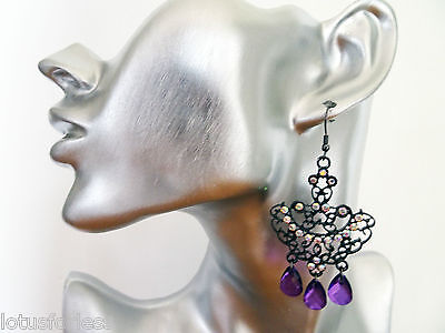 £4.99 • Buy Diamante Dangle Drop Earrings Chandelier Style With Purple And Ab Diamante