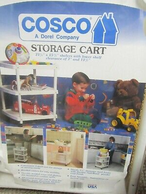$74.99 • Buy Cosco Rolling  3 Tier Storage Cart White Steel Frame Rare New In Box!