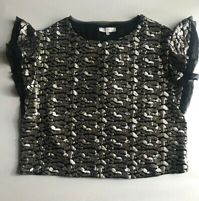 $ CDN165.41 • Buy IRO Blouse Black Silver Women's Shirt S 36 Deven Sequin Pattern Top $390