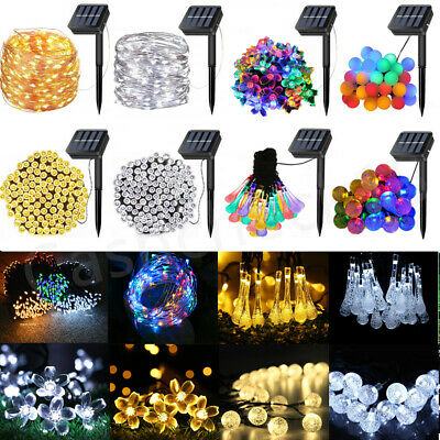 30 - 200 LED Solar Powered String Fairy Lights Wedding Outdoor Garden Party Home • 12.27£