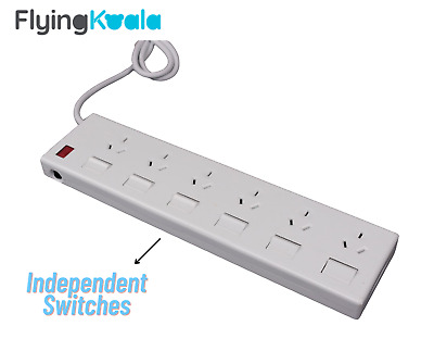 AU17 • Buy 6 Outlet Power Board Overload Protection Individual Switch With 1M Cable