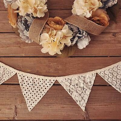 2.5M Vintage Lace Flag Cotton Banner Bunting Wedding Birthday Party For Decor • 5.99£