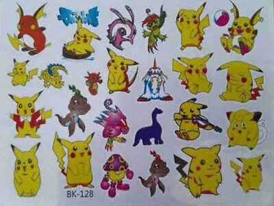 KIDS Temporary Tattoo POKEMON Great For Party Bags  • 1.99£