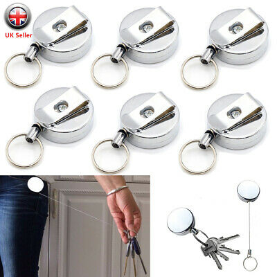 £9.98 • Buy 6X Stainless Pull Ring Retractable Key Chain Recoil Keyring Heavy Duty Steel UK