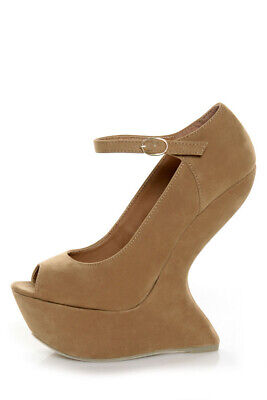Tan Taupe Open Peep Toe Mary Jane Suede Heel Less Curved Wedge High Pump 7.5 • 45.58£