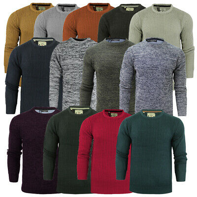 View Details Mens Jumper Knitwear Knitted Crew Neck Fishermans Winter Rib Knit By Brave Soul  • 9.99£