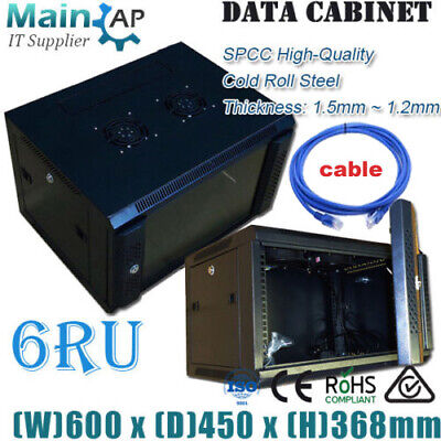 AU155 • Buy 6RU 600x450MM WALL MOUNT NETWORK SWITCH MONITOR ROUTER DATA MINING CABINET CABLE
