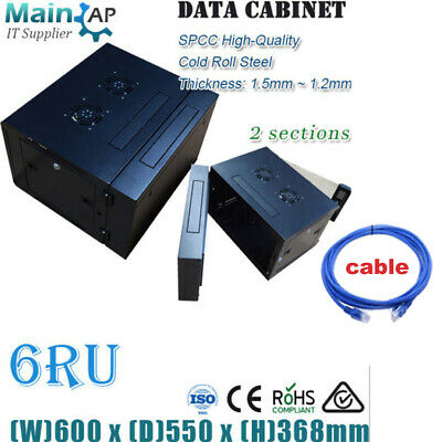AU185 • Buy 6RU 600mmX550mm WALL MOUNT NETWORK SERVER CABINET 2 SECTIONS HOME THERTER BOX
