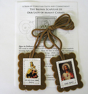 Brown Prayer Scapular Our Lady Of Mount Carmel Religious Gift Catholic • 1.99£