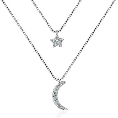925 Sterling Silver Star Moon Pendant Double Chain Necklace Women Jewellery • 2.71£