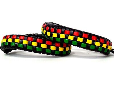 $9.97 • Buy 2 Piece Jamaican Rasta Beads Bracelet For Men Women Unisex African Red Yellow Gr