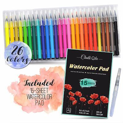 $19.98 • Buy Watercolor Brush Pens 26 Colors 15 Sheet Watercolor Pad Brush Calligraphy Art