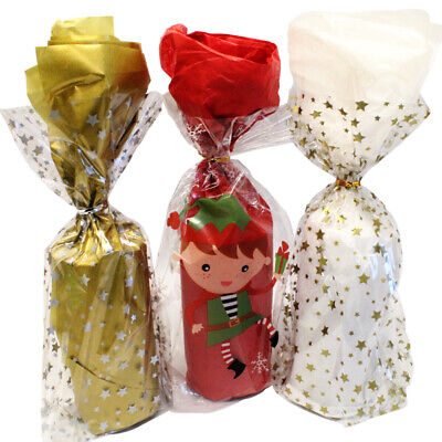£3.29 • Buy 12 Christmas Cellophane Cello Party / Food / Cookie / Gift Bags With Twist Ties