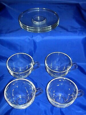 BODUM BISTRO 4 X French Clear Glass Cups ~ Saucers Coffee Tea  • 19.99£