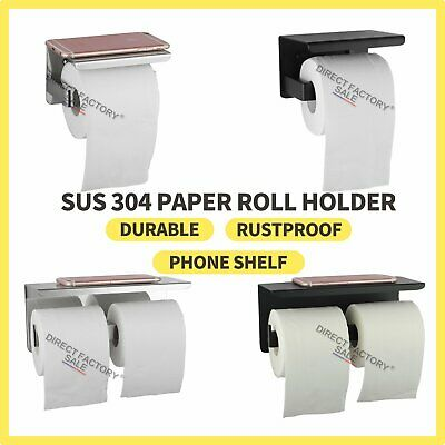 AU28 • Buy Wall Toilet Paper Roll Holder Hook Black Tissue Storage Cover Stainless Steel