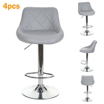 4 X Grey Leather Gas Lift Faux Bar Stools Home Kitchen Breakfast Bar Etc • 129.99£