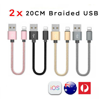 AU6.99 • Buy 2x 20CM Short Braided Lightning USB Cable Fast Charging Cord IPhone XS 8 7 6+ 5