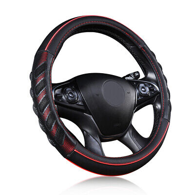AU24.69 • Buy  Car Steering Wheel Cover Leather Universal 14.5-15  Auto Accessories Red Black