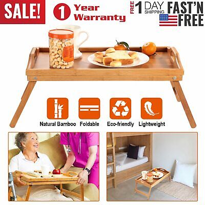 $18.69 • Buy Breakfast In Bed Table Tray Bamboo Foldable Legs Lap Laptop Serving Food Eating