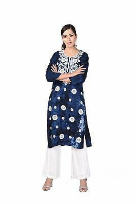 AU35 • Buy Rayon Printed Kurti For Women Lucknowi Floral Embroidery Designer Kurti-(Blue)