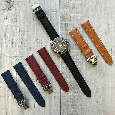 For Omega Rolex Tissot Leather Watch Strap Band + Deployment Buckle 20/22/24mm • 29.99£